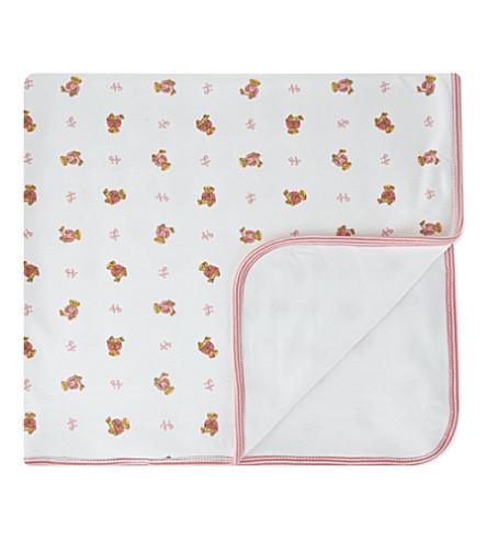 RALPH LAUREN Reversible bear blanket (White+multi+pink