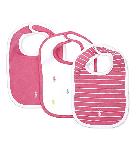 RALPH LAUREN Baby girl cotton-jersey bib set of three (Bermuda+pink