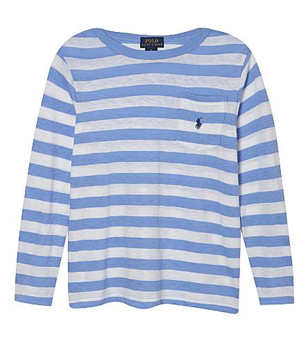 RALPH LAUREN Striped long sleeve t-shirt 3-7 years (Cabana blue mul