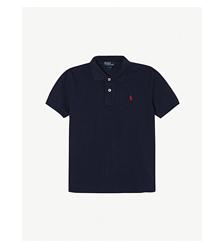 RALPH LAUREN Solid mesh polo shirt 5-7 years (French+navy