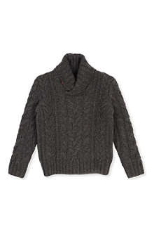 RALPH LAUREN Shawl collar Aran-knit jumper 2-7 years