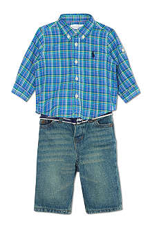 RALPH LAUREN Checked shirt and jeans set 3-9 months