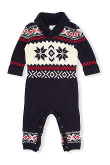 RALPH LAUREN Fair Isle shawl collar coverall 3-9 months