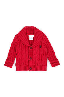 RALPH LAUREN Shawl collar cable knit cardigan 3-9 months