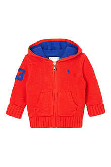 RALPH LAUREN Thick knit hooded cardigan 3-9 months