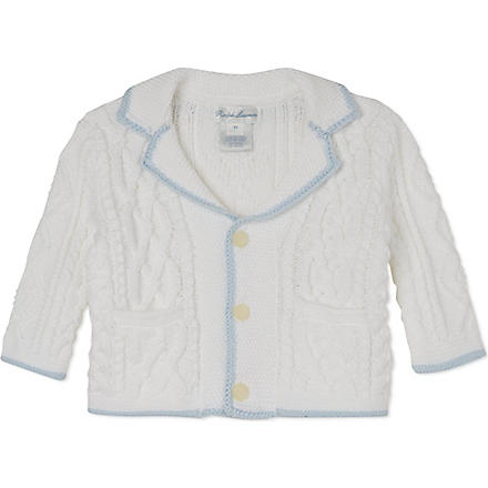 RALPH LAUREN Knitted cotton cardigan 3-9 months (White