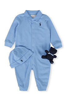 RALPH LAUREN Bodysuit, teddy and hat gift set