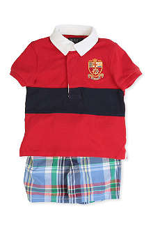 RALPH LAUREN Chest stripe rugby top and short set 3-9 months
