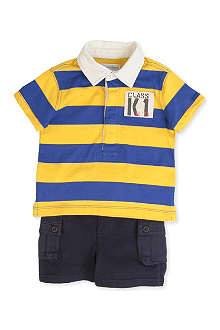 RALPH LAUREN Rugby top and cargo short set 3-9 months