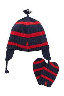 RALPH LAUREN Earflap hat & mitten set 3-12 months