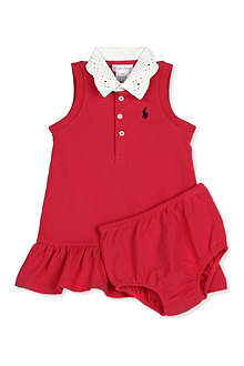 RALPH LAUREN Crochet-collar Rugby dress 3-24 months