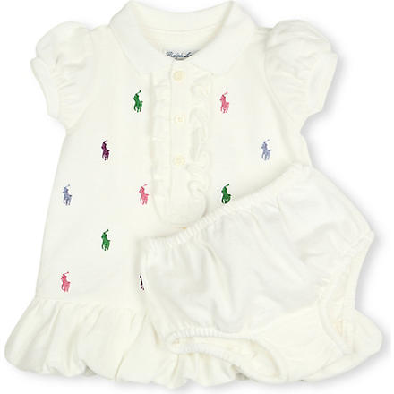 RALPH LAUREN Schiffli polo dress and bloomers set 3-9 months (White