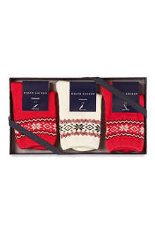 RALPH LAUREN Pack of three gift box socks 2-4 years