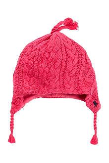 RALPH LAUREN Aran cable knit earflap hat