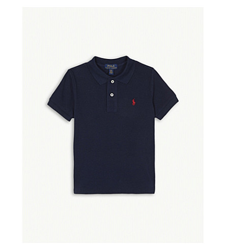 RALPH LAUREN Classic cotton-piqué polo shirt 2 - 4 years (French+navy
