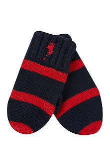RALPH LAUREN Rugby striped mittens