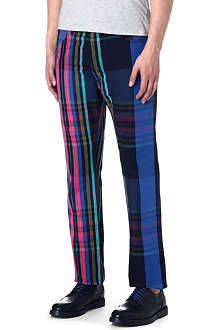 VIVIENNE WESTWOOD Tartan drop-crotch slim-fit tapered jeans