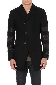 VIVIENNE WESTWOOD Melton leather-panel wool-blend coat