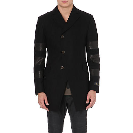 VIVIENNE WESTWOOD Melton leather-panel wool-blend coat (Black