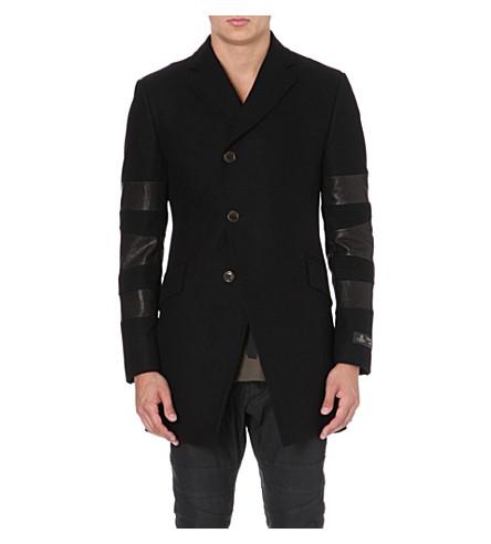 VIVIENNE WESTWOOD Melton leather-panel wool-blend coat (Black