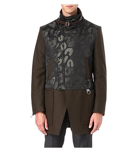 VIVIENNE WESTWOOD Leopard-panel asymmetric coat (Green