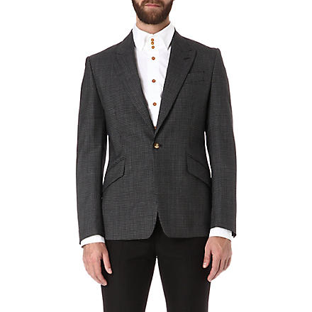 VIVIENNE WESTWOOD Micro-gingham regular slim-fit blazer (Black