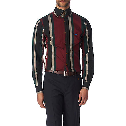 VIVIENNE WESTWOOD Striped slim fit single cuff shirt (Burgundy