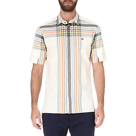 VIVIENNE WESTWOOD Checked orb-embroidered shirt (Beige