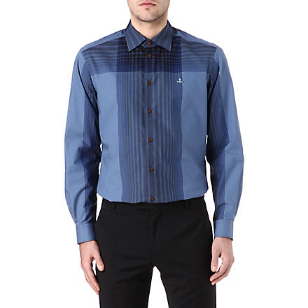 VIVIENNE WESTWOOD Oversized check slim-fit shirt (Blue