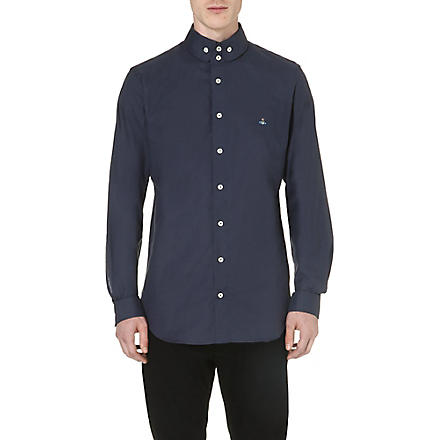 VIVIENNE WESTWOOD Orb-embroidered cotton shirt (Navy