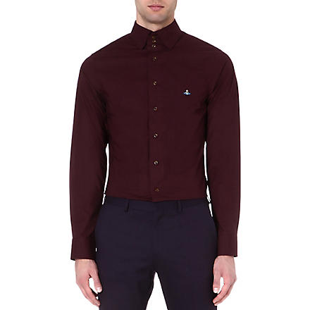 VIVIENNE WESTWOOD Three-button collar single-cuff shirt (Bordeaux
