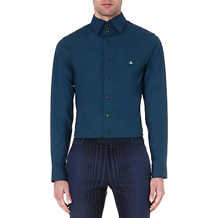 VIVIENNE WESTWOOD Three-button collar single-cuff shirt (Turquoise