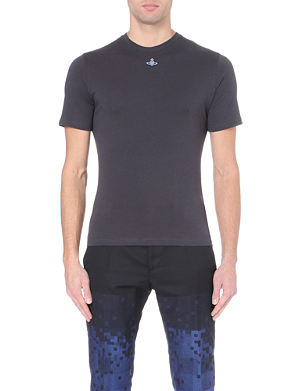 VIVIENNE WESTWOOD Orb-embroidered cotton-jersey t-shirt
