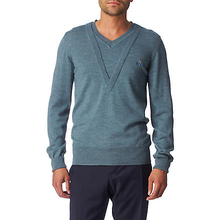 VIVIENNE WESTWOOD Double v-neck jumper (Blue
