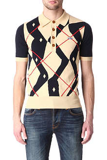 VIVIENNE WESTWOOD Twisted argyle knitted polo shirt
