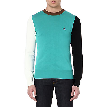 VIVIENNE WESTWOOD Colourblocked knitted jumper (Green