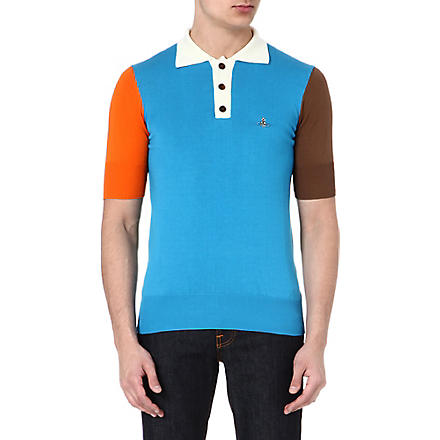VIVIENNE WESTWOOD Colourblocked polo shirt (Blue