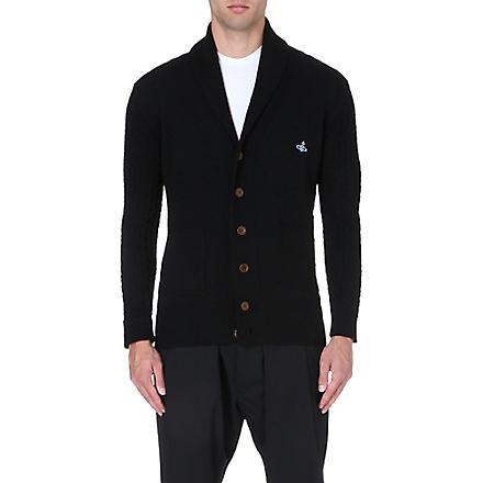 VIVIENNE WESTWOOD Orb-embroidered shawl-lapel cardigan (Black