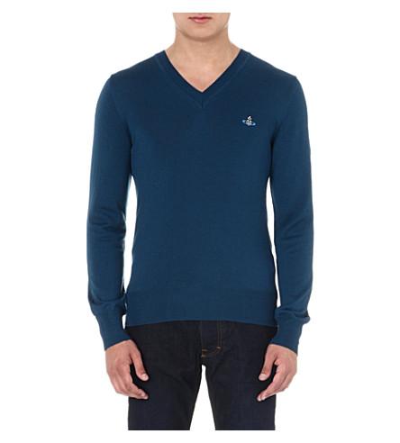 VIVIENNE WESTWOOD Orb v-neck jumper (Blue