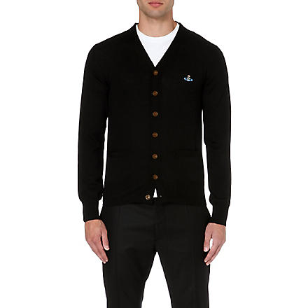 VIVIENNE WESTWOOD Orb-embroidered v-neck cardigan (Black