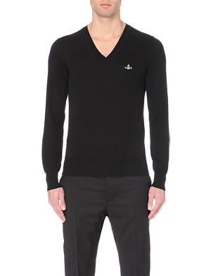 VIVIENNE WESTWOOD Orb-embroidered v-neck knitted jumper