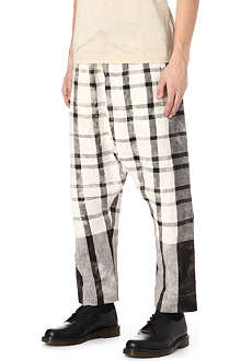 VIVIENNE WESTWOOD Checked drop-crotch linen trousers