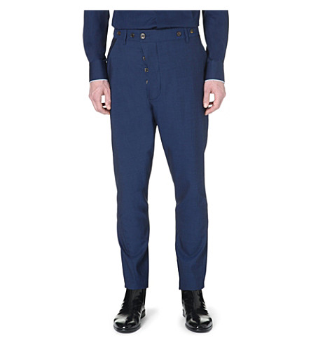 VIVIENNE WESTWOOD Asymmetric button-fly trousers (Blue