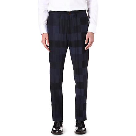 VIVIENNE WESTWOOD Check panel slim-trousers (Blue