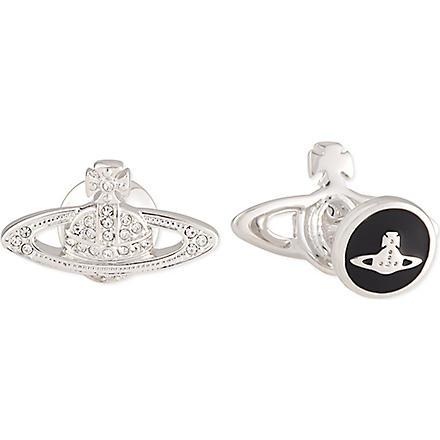 VIVIENNE WESTWOOD Mini Bas Relief Orb cufflinks (Crystal/rhodium