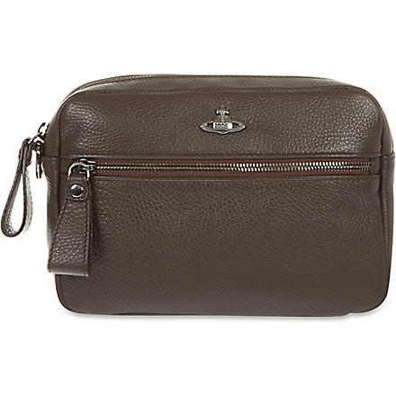 VIVIENNE WESTWOOD Marseille leather washbag (T.moro