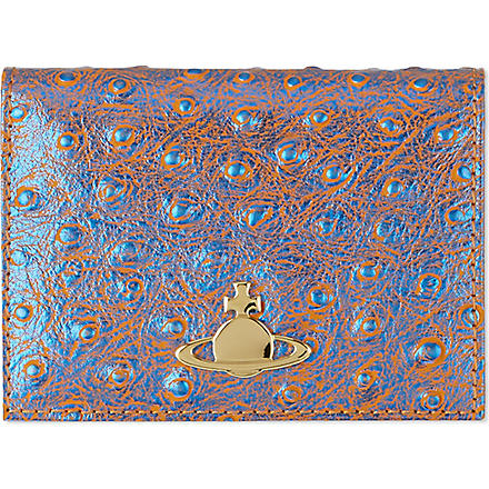 VIVIENNE WESTWOOD Cote d'Azur ostrich leather card holder (Blu