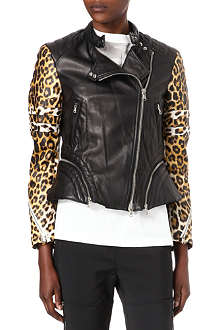 3.1 PHILLIP LIM Leopard-print leather biker jacket