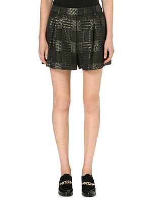 3.1 PHILLIP LIM Checked shimmer-effect shorts
