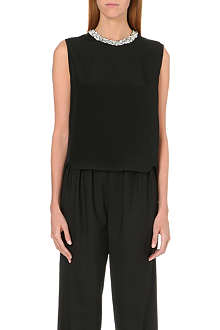 3.1 PHILLIP LIM Sequinned-collar silk top